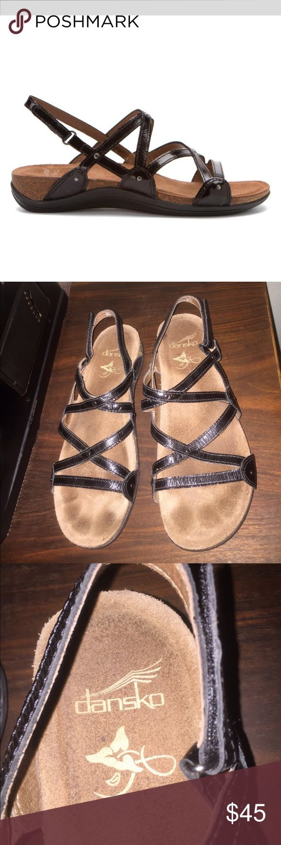 SALE Dansko Jovie sandals in black patent 39 8 8.5 WILL BUNDLE W OTHER PAIR for $45! Just do a bundle offer. 😘  comfortable Dansko Jovie sandals! 1st pic is stock photo.  See pics for actual sandals. In good preowned condition w some signs of wear to the footbed and the leather uppers. A more laid back gladiator with cork soles. Worn for one season. These go with everything!! Also have a neutral metallic gold pair listed! Size 39 and I wear an 8 or 8.5. PM says 39 is a 9, but know your size…