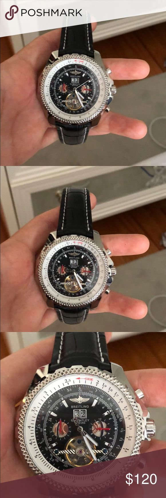 Imitation breitling Bentley watch Imitation breitling Bentley watch 48.8 mm steel case black baton dial. Perfect condition and fully functioning. Swiss replica NOT Japanese Accessories Watches