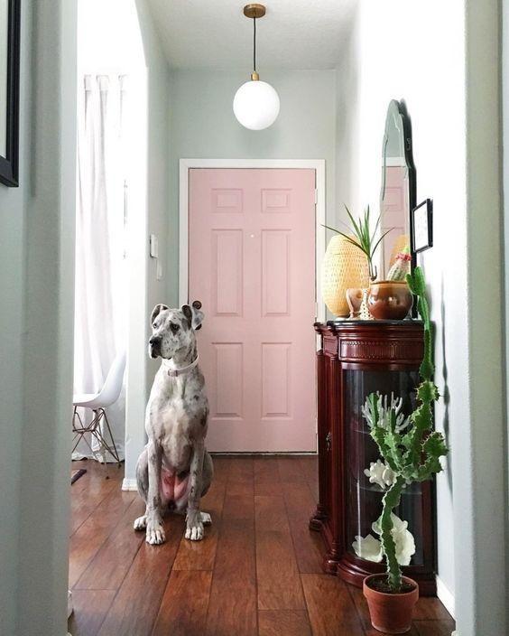 Pink accent door.