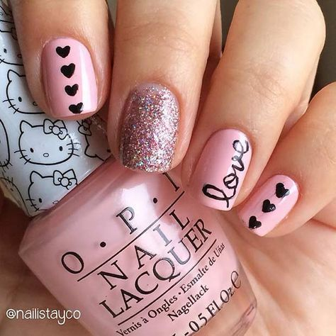 Pink Love Valentines Day Nail Design for Short Nails