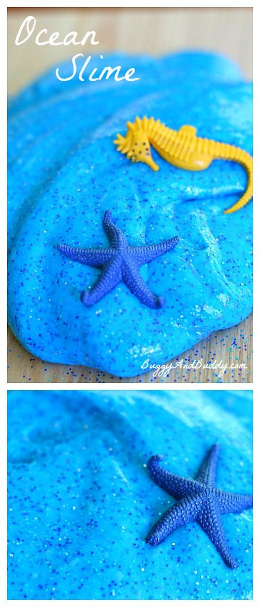 How to Make Ocean Slime (Recipe)- Fun sensory activity and small world play for summer or a unit on sea life! ~ BuggyandBuddy.com via @https://www.pinterest.com/cmarashian/boards/