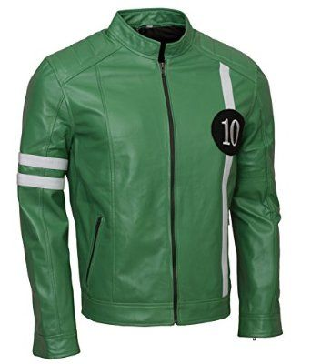 Ben 10 Green Mens Celebrity leather Jacket at Amazon Men's Clothing store: