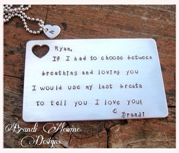 Personalized Hand Stamped Wallet Insert with monogram necklace, Credit Card, Gift for men, groomsmen gift, Father's Day gift on Etsy, $19.00