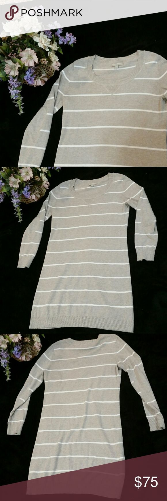 Banana Republic Beige & Ivory Stripe Sweater Dress Banana Republic beige & ivory striped sweater dress. Has beautiful detail of solid beige elbow patches. Stretchy & cozy! Excellent used condition. Size small. Banana Republic Dresses Long Sleeve