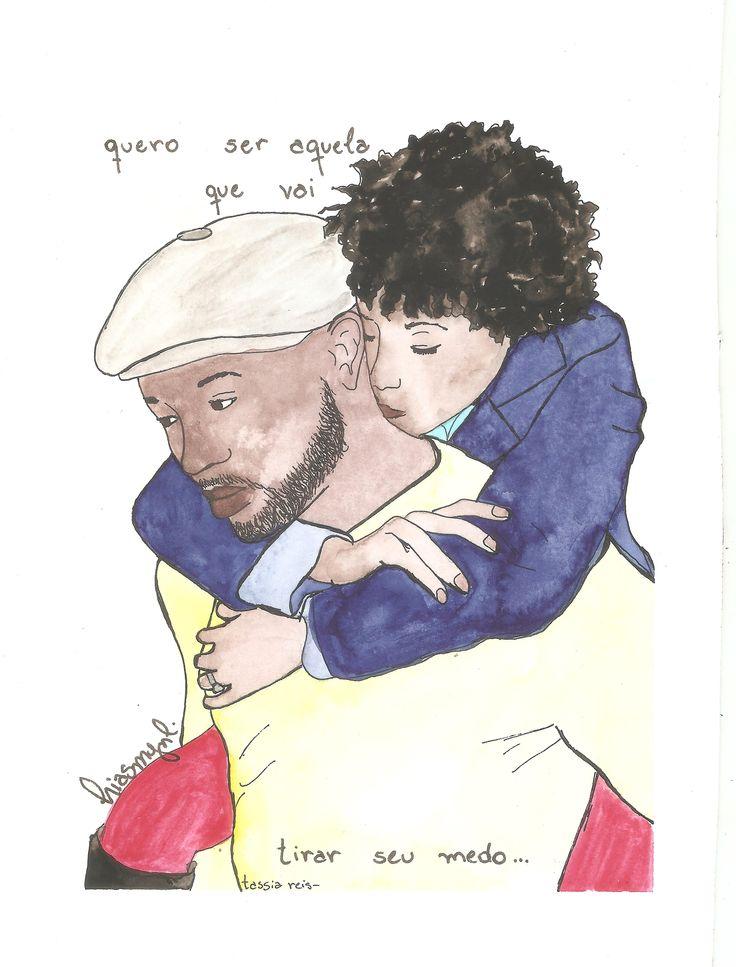 Couple. Black couple. Black bride. Love. Curly hair. Tassia Reis. Illustration. Watercolor. Ilustração. Aquarela. Casal negro. Cabelo cacheado. Amor.