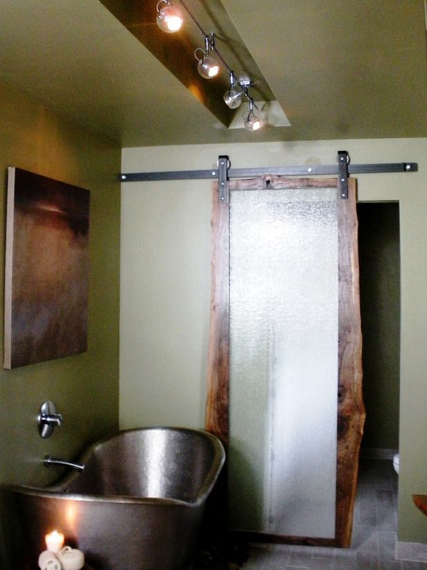 Bathrooms with Unique Features : Home Improvement : DIY Network Copper tub, green paint, sliding door