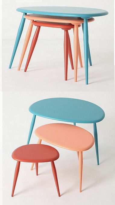 Brightly-painted nesting tables save space and provide a pop of color. | 41 Clever Organizational Ideas For Your Child's Playroom