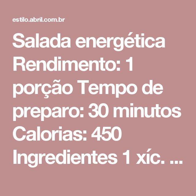 Salada energética Rendimento: 1 porção Tempo de preparo: 30 minutos Calorias: 450 Ingredientes 1 xíc. (chá) de macarrão penne integral 1 dente de alho amassado 1 col. (sobremesa) de óleo de coco 2 col. (sopa) de azeitona-preta sem caroço 3 folhas de manjericão fresco 2 tomates- cereja 3 col. (sopa) de atum light em lata escorrido 2 pimentas – biquinho Vantagens: o macarrão integral é um carboidrato de baixo índice glicêmico que fornece energia aos poucos. Já a pimenta biquinho tem ação…