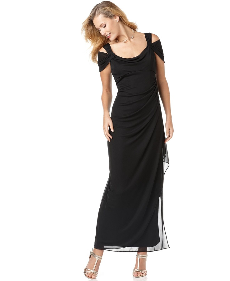 Alex evenings dress sleeveless draped evening gown for Macy s dresses for weddings