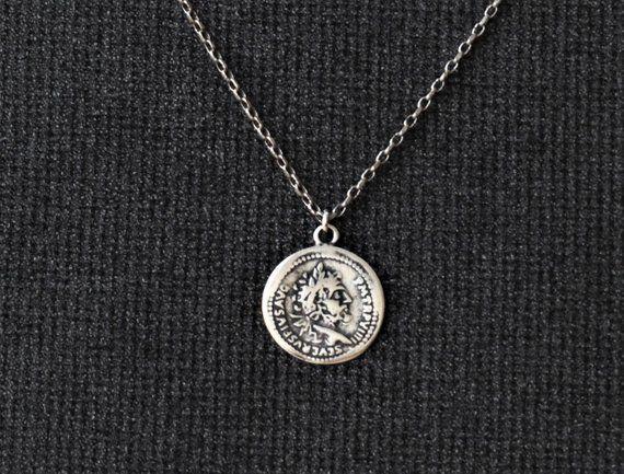 bdea7e3a27f3b Mens Necklace Mens Silver Coin Necklace Mens Pendant | Etsy | Men ...