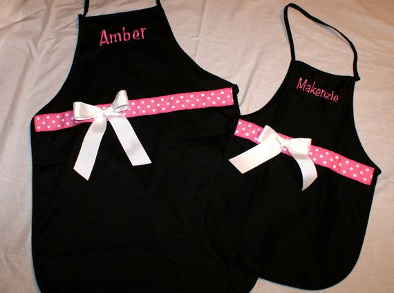 Mommy and Me Apron Mother Daughter Monogrammed and Personalized with Ribbon and Bow on Etsy, $27.00