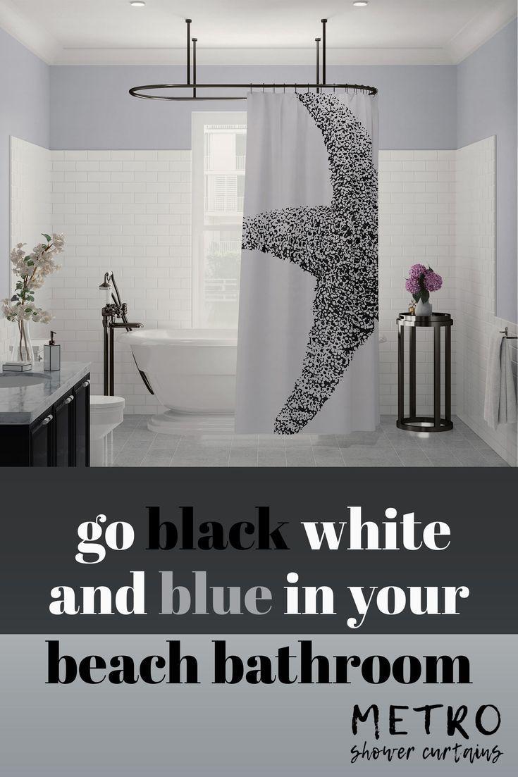 Black And White Art Print Starfish Shower Curtain Cool Shower
