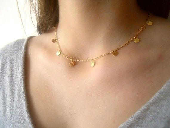 Gold Coin Necklace. Layering delicate charm by annikabella on Etsy