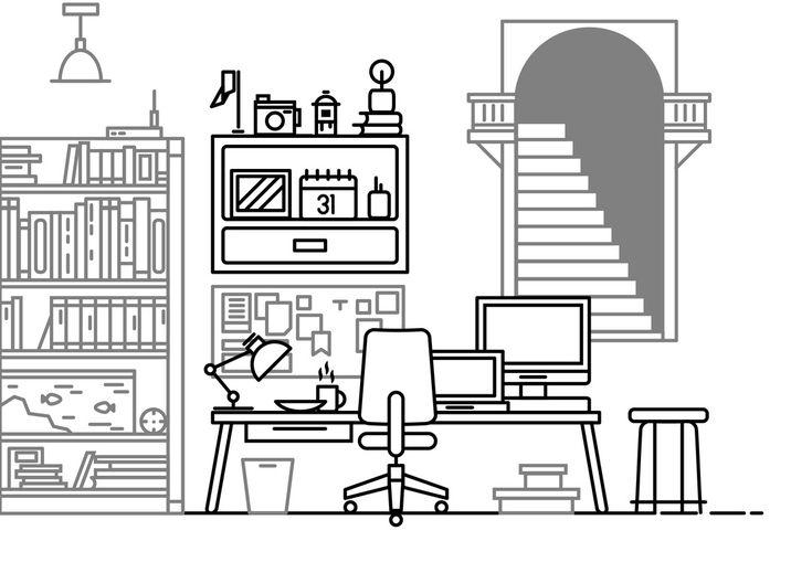 Workspace Illustration in Black and White #Vector #Artline #Linework