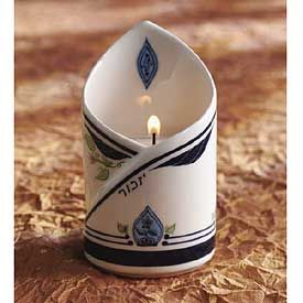 ELIAHU MEMORIAL CANDLE HOLDER & CANDLE AZOULAY