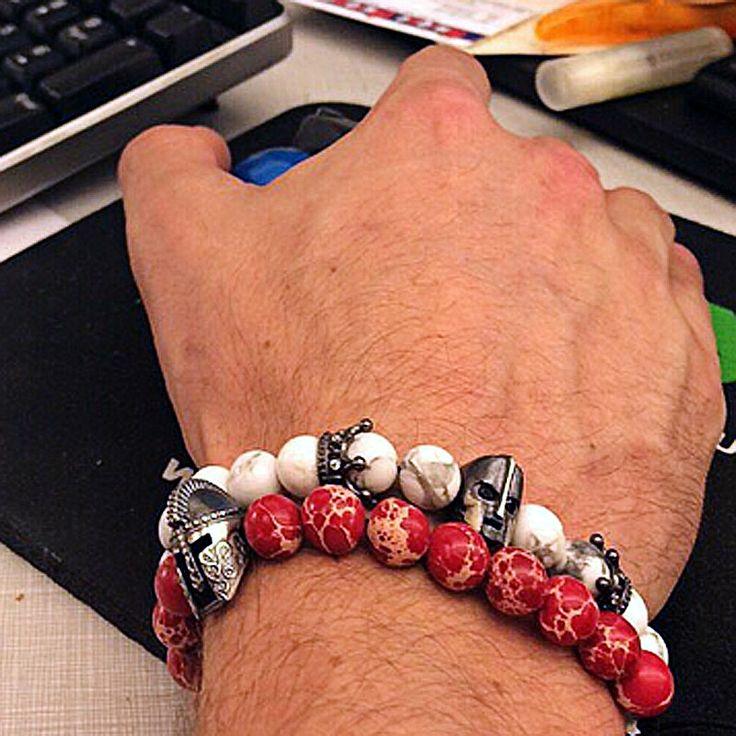 2016 Nature Stones Beads Men Bracelets Golden Crown Skull Women Charm Bracelets Atolyewolf Bracelet Zircon Micro Pave Bracelets www.bernysjewels.com #bernysjewels #jewels #jewelry #nice #bags