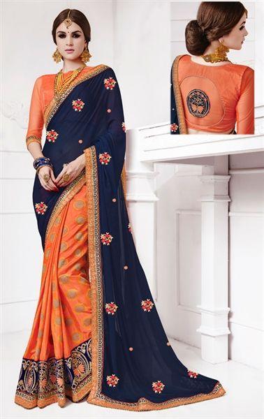Picture of Dazzling Navy Blue and Orange Premium Designer Saree