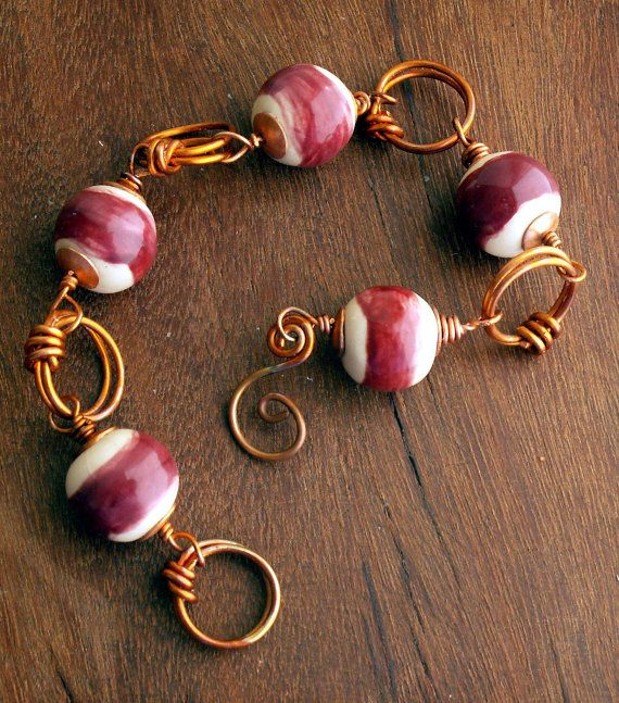 OKAWA Bead Copper Wire Bracelet by CarefreeJewelry on Etsy, $35.00