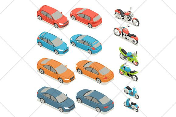isometric cars and motorcycles icons by Kurokstas on Creative Market