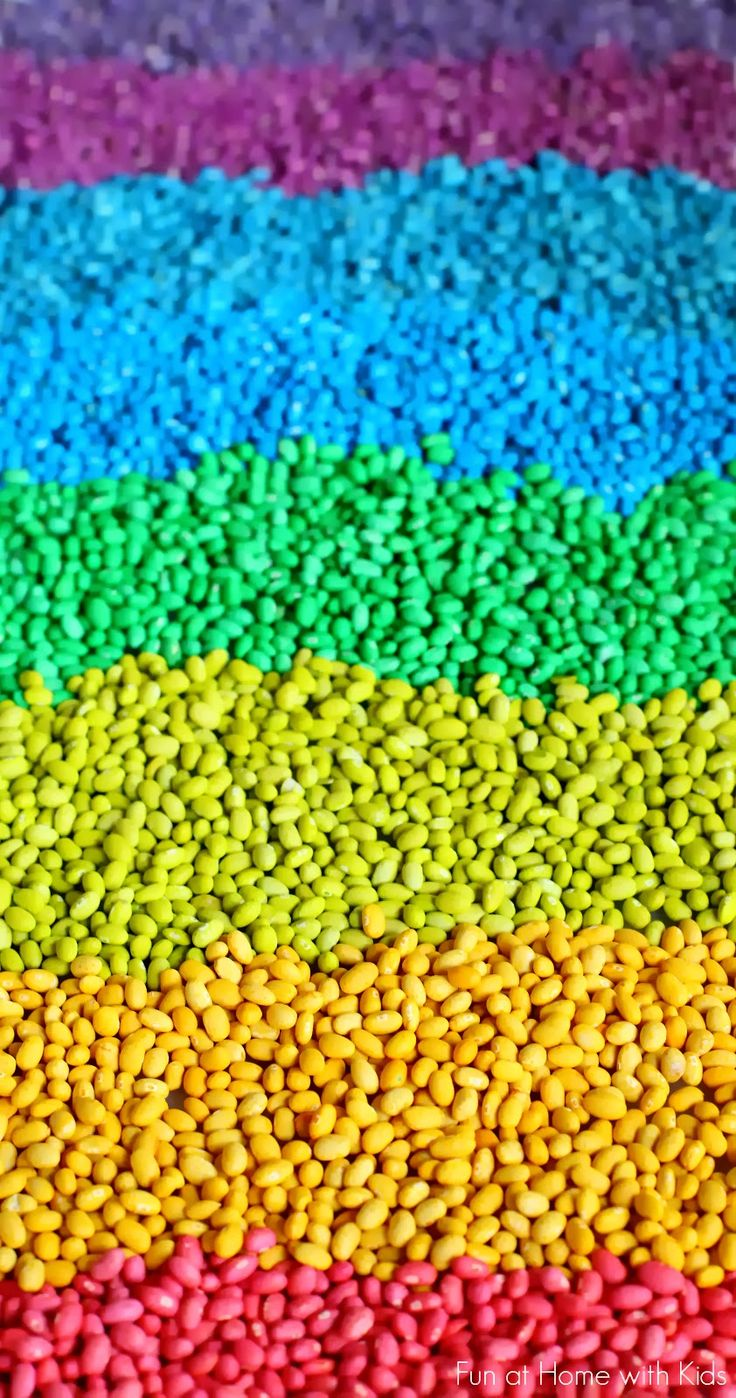 How to Color Beans for Play and Art from Fun at Home with Kids  Note: Sensory Bin or use for art project