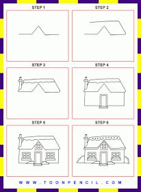 How to draw a cottage for kids step by step art for How to draw a log cabin step by step
