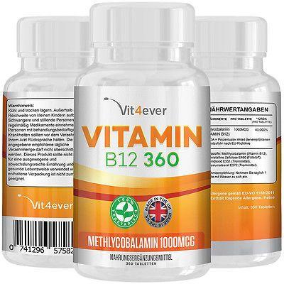 Vitamin B12 - 360 Tabletten mit 1000mcg - Methylcobalamin - 100% vegan B-12