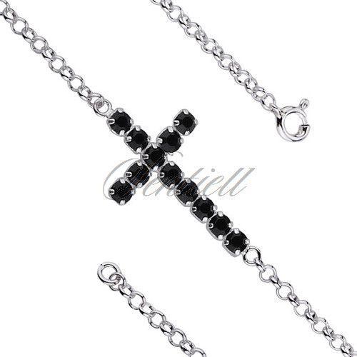 Srebrna bransoletka pr.925 krzyż z czarnymi cyrkoniami - Biżuteria srebrna dla każdego tania w sklepie internetowym Rejel