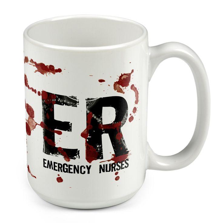 Ceramic Mug With U201cEmergency Nurseu201d Handprint Graphic