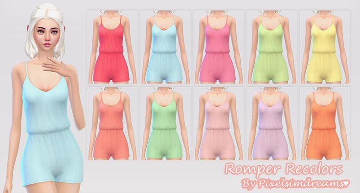 pixelsimdreams:  ♦⁴ Romper RecolorsSome little romper's made by Sim4ny recolored into my summery, and pastel colors. The mesh is not included so be sure to download it! :)-NOTE-All come in one file.Download the mesh here. Total of 18 swatches.♥ Credit:Hair Edit by Nyloa-TOU-Please do not re-upload, modify, or claim as your own thank you! D o w n l o a d - Romper Recolors♥.