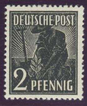 """Germany, Joint Issue, Alliierte Besetzung 1947, Arbeiter, 2 Pfg. """"ohne Wasserzeichen"""", postfrisch Pracht, gepr. Schlegel BPP (postfr., Mi.-Nr.943 Z/Mi.EUR 150,--). Price Estimate (8/2016): 40 EUR."""