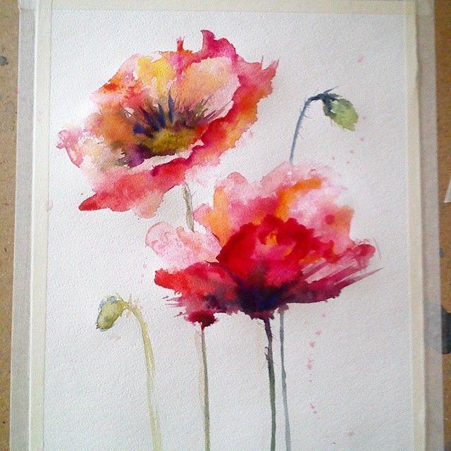 Antje Hettner Bild Original Kunst Aquarell 30x30 Mohn Blumen