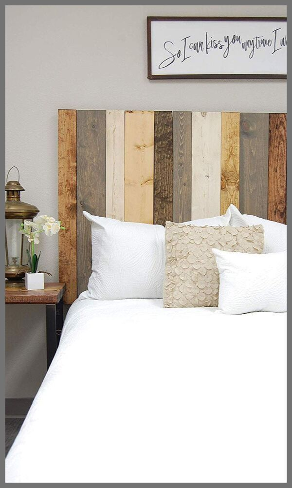 Hanger Style Handcrafted Farmhouse Mix Headboard Mounts on Wall.