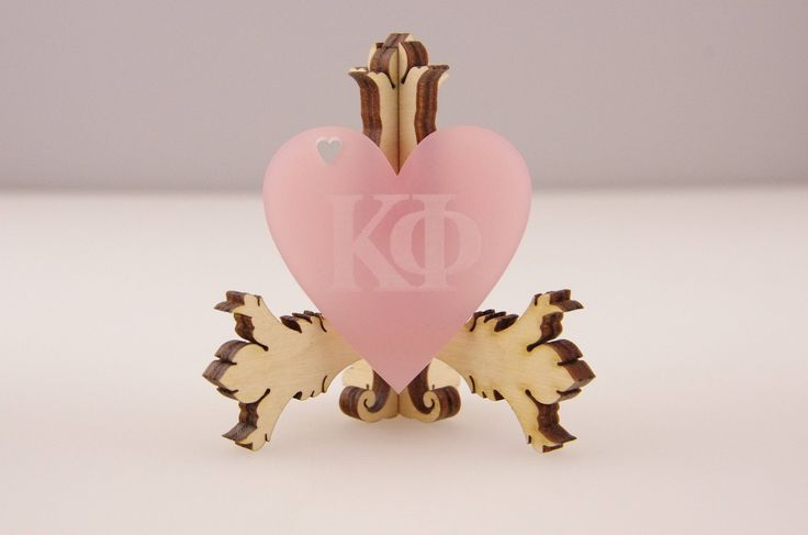 """10 Frosted Hearts, Logo Engraving, Laser Cut Acrylic, Sorority, Kappa Symbols, Custom Engraved Acrylic, Pink Heart, 2""""x2"""", Graduation, HE20 by CCLaserDesigns on Etsy"""