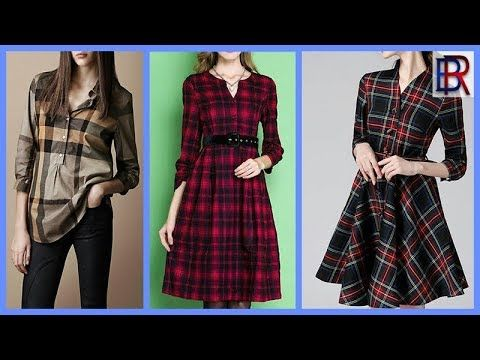 ff877acd3751 stylish and latest Check frock designs for girls Casual Cotton Checked  Shirts Designs For Women - YouTube
