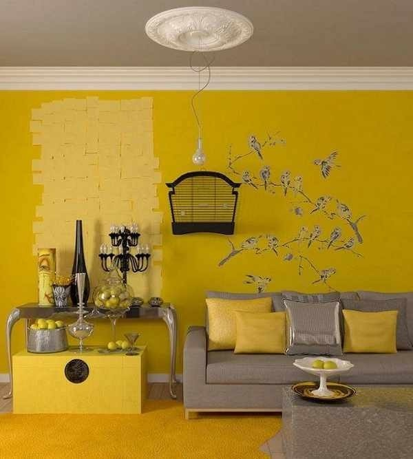 Yellow room love the grey ceiling kids rec room for Yellow and grey living room ideas
