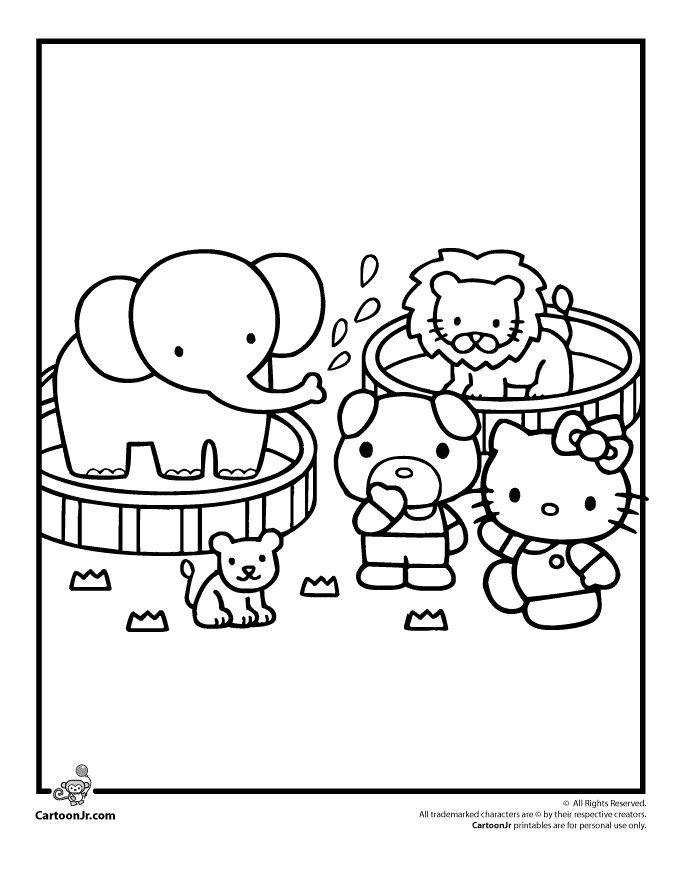 hello kitty at the circus coloring page cartoon jr