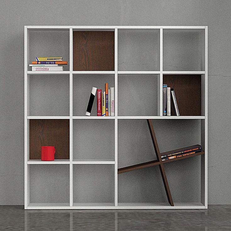 Decortie Honey Book Shelf, White & Wenge