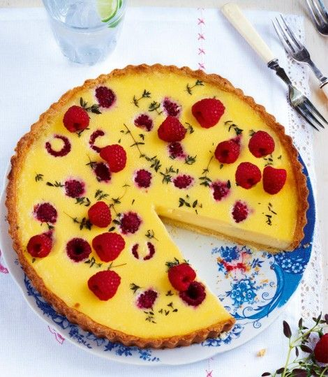 Raspberry-and-thyme-custard-tart