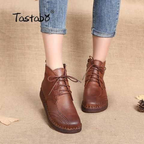 71231786990 Tastabo Genuine Leather Ankle Boots 2018 New Design Round T Soft  Comfortable Brown Black Flats Boots Women Outfit Accessories From Touchy  Style .