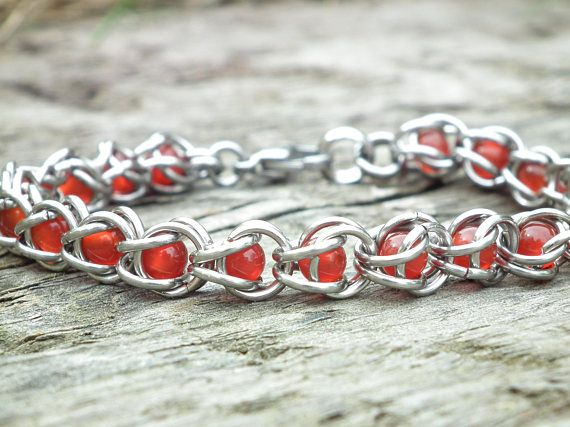 Red Agate and stainless steel bracelet root chakra jewelry