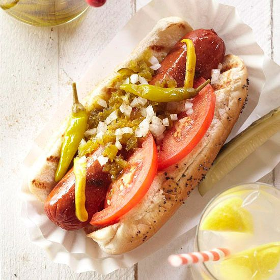 Jamie's Chicago-Style Hot Dogs | Those that have never tasted a Chicago-style hot dog may be suspicious of its peculiar ingredients. But don't be; the flavors of the Windy City classic take the humble hot dog to haute cuisine status. All-beef hot dogs are clearly labeled and easy to find.