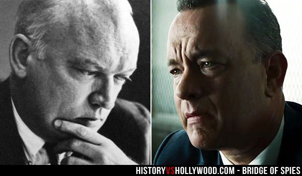 "James B. Donovan and actor Tom Hanks, who portrays Donovan in the Bridge of Spies movie. Read ""Bridge of Spies: History vs. Hollywood"" at http://www.historyvshollywood.com/reelfaces/bridge-of-spies/"