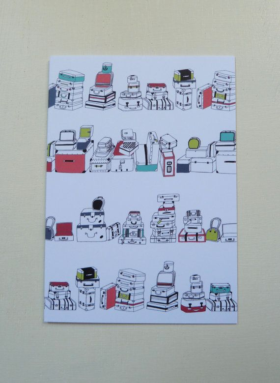 These Illustrated Suitcase Pattern Greetings Cards are designed and illustrated by Rachel Ali Hawkins. Great cards to give to someone special for any occasion!  They measure approx 105mm x 148mm and come in a protective cellophane bag with a plain white envelope. Printed onto thick 350gsm, FSC credited paper stock. Blank inside.