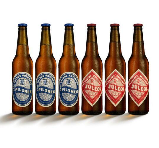vintage letterpress-look beer labels