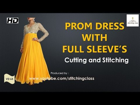 Prom Dress with Full Sleeves Cutting and Stitching - YouTube