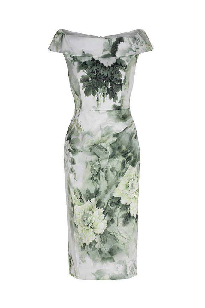 Green Floral Bardot Wiggle Pencil Dress