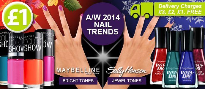 Autumn/Winter 2014 Nail Trends....Maybelline & Sally Hansen Nail Polishes