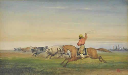 JA - Gaucho con poncho a caballo