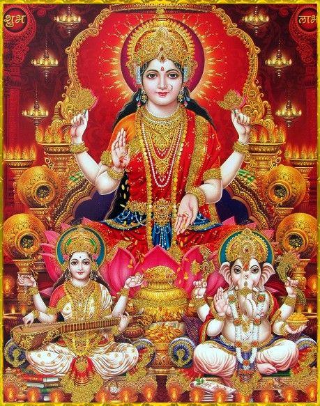 Goddess Laxmi, Saraswati & Ganesha