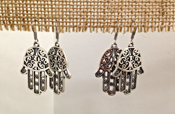 Hamza Hand Silver Earrings by SCBoutique123 on Etsy